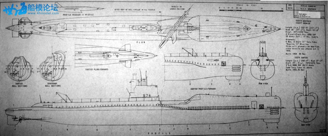 модель подводной лодки с чертежами