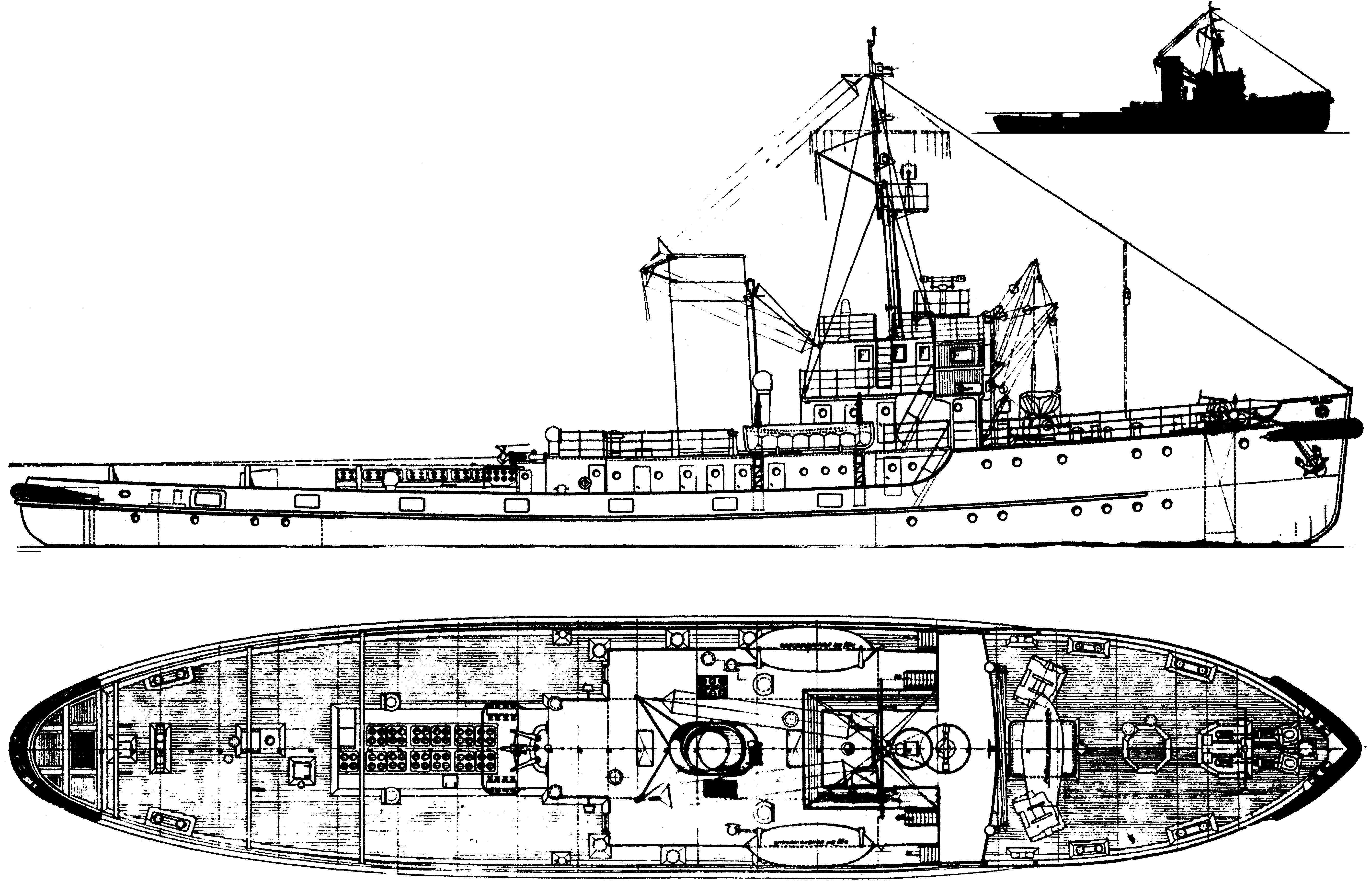 Схема морского буксира